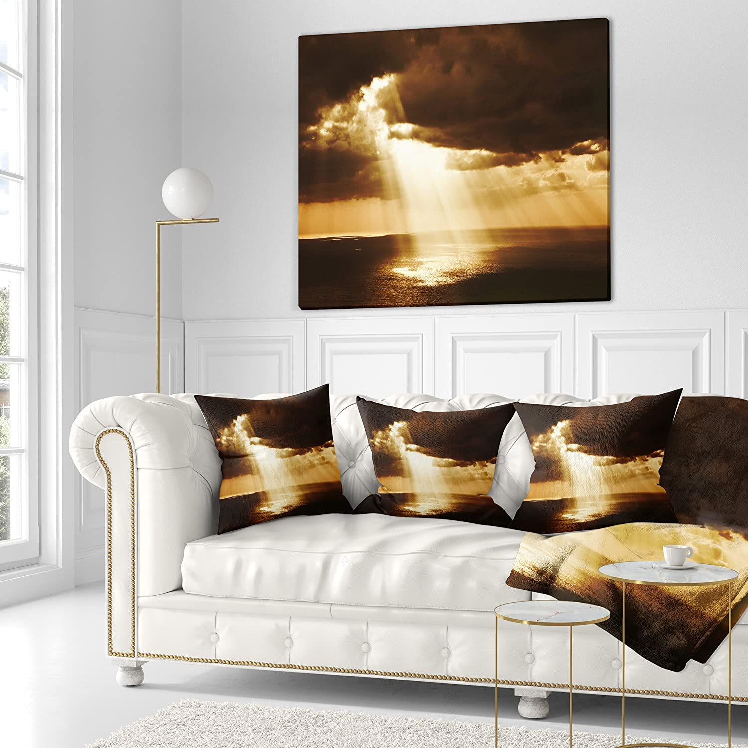 Designart CU14761-18-18 Dramatic Sunset with Sunrays Landscape Printed Cushion Cover for Living Room x 18 in in Sofa Throw Pillow 18 in