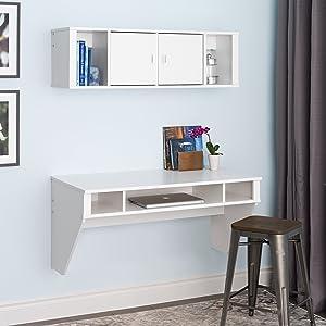 Prepac Designer Floating Desk and Hutch Set in White (WRHW-0501-2M)