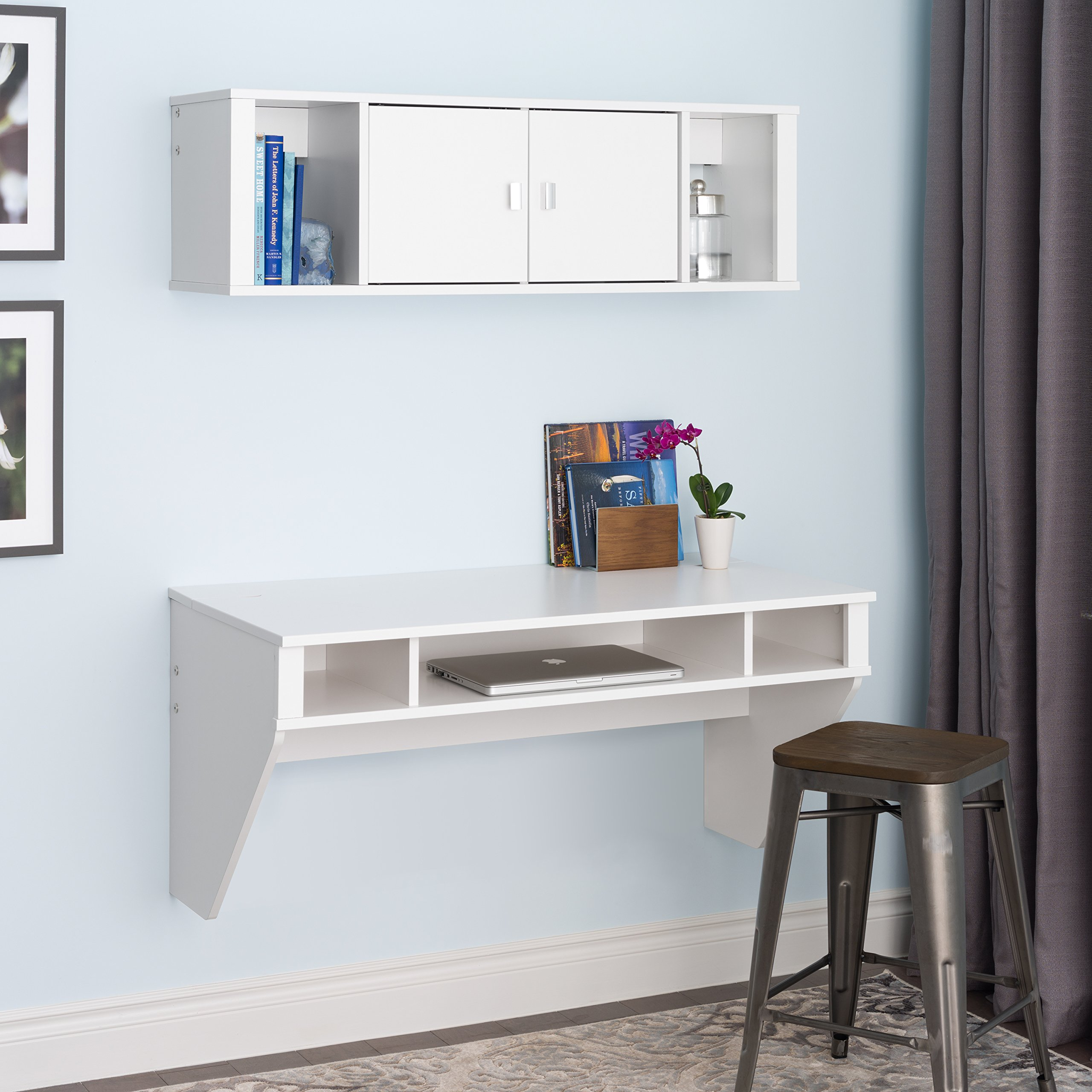 Prepac Designer Floating Desk and Hutch Set in White by Prepac