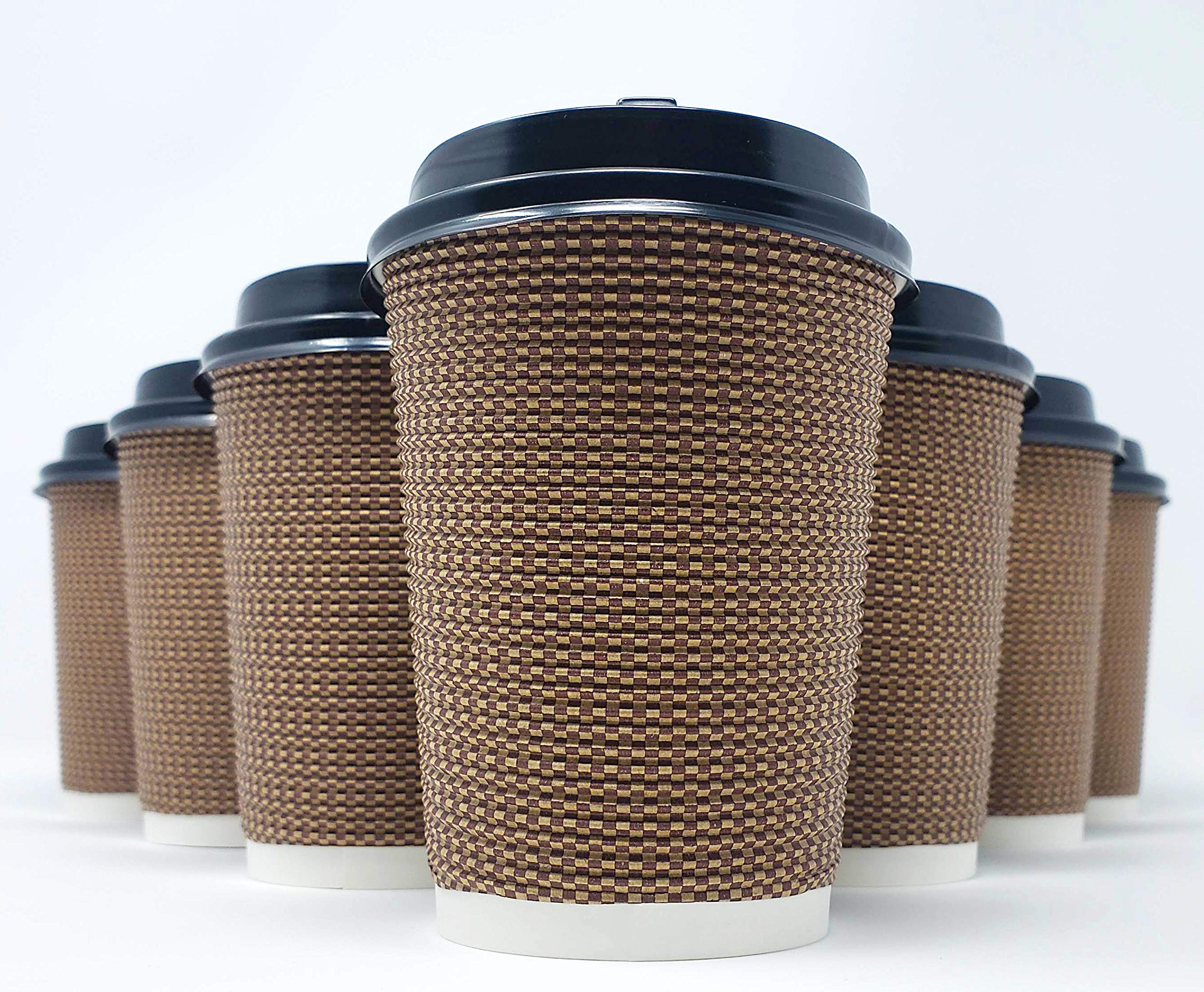 Nature's Curios 50-pack Premium 12 oz Paper Coffee Cups with Lids - Sturdy, Disposable, Insulated, Corrugated, Rippled for Hot and Cold Drinks (Brown)