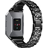 bayite Replacement Metal Bands for Fitbit Ionic Accessories Bracelet Band with Rhinestone Bling Adjustable Wristband for Fitbit Ionic Smart Watch(14cm-19cm)