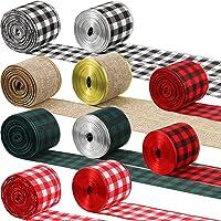 10 Rolls 100 Yards Buffalo Plaid Ribbon Wired Edge Ribbon Fall Check Ribbon Burlap Style Ribbon Holiday Wrapping Ribbon…