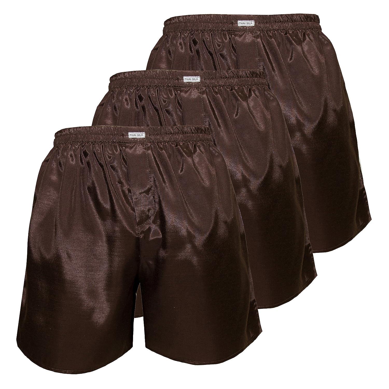 Set of 3 Men's Comfort Sleep Underwear Thai Silk Boxer Shorts