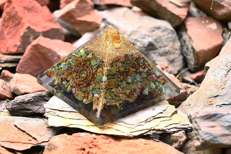 ZAICUS Ruby Zoisite Orgone Pyramid Feng Shui Prosperity Stones Healing Crystals Chakra Balancing Aura Cleansing Positive Energy Generator Spiritual Gift & Enhance Home Decor 2.5-3 Inch