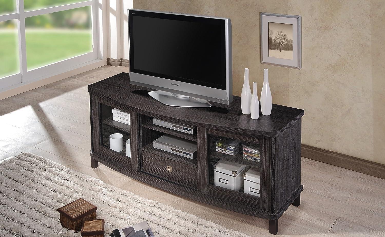 Amazon Wholesale Interiors Baxton Studio Walda Dark Brown Wood TV Cabinet With 2 Sliding Doors And 1 Drawer 60 Kitchen Dining