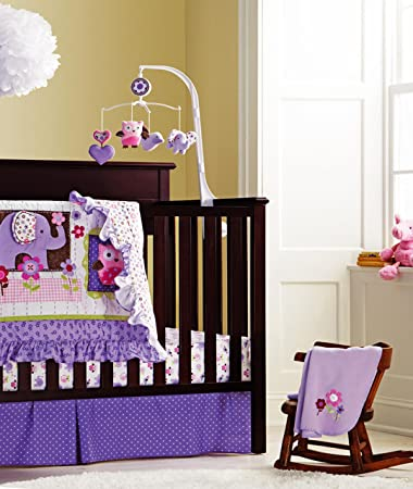 fcl baby girls purple crib bedding set with bumper 8 piece
