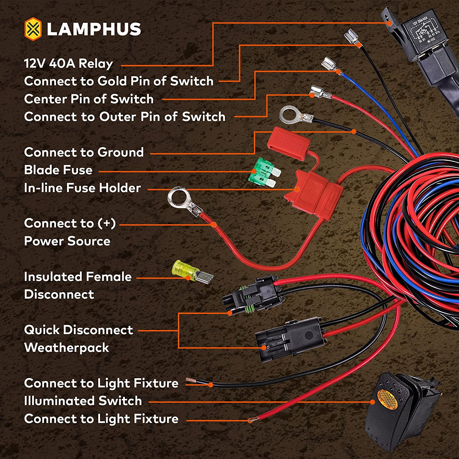 Lamphus 17 Off Road Atv Jeep Led Light Bar Wiring Electrical Fixture Harness Kit Made In Usa Hd 12awg Wire Ip65 Waterproof Rectangle Switch Heavy Duty