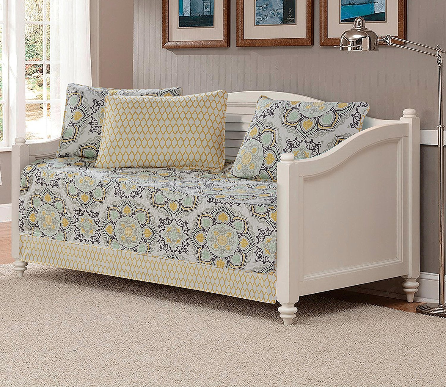 5pc Daybed Cover Set Reversible Bedspread Medallion Print Yellow White Green Light Grey