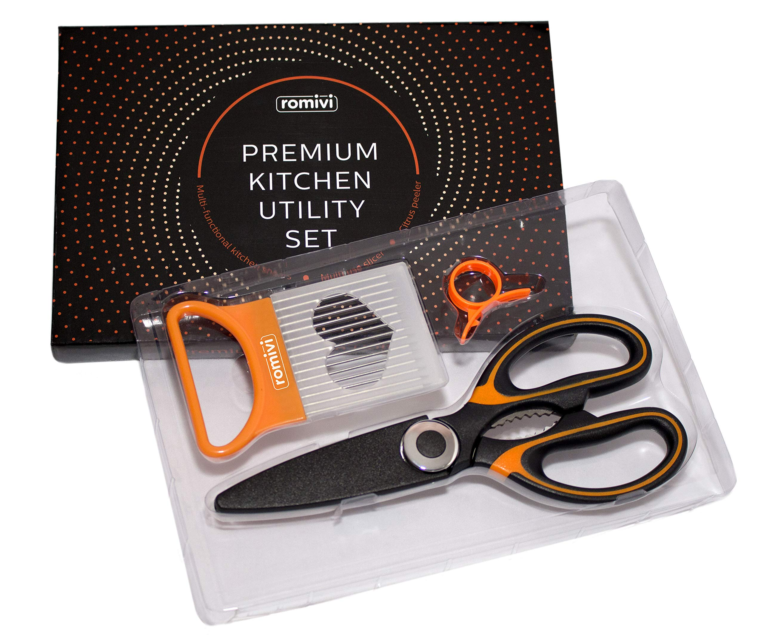 Romivi Kitchen Scissors | High Grade Stainless Steel Kitchen Shears | Multipurpose Heavy Duty Kitchen Utensil Comes with Onion Slicer and Orange Peeler by Romivi (Image #7)