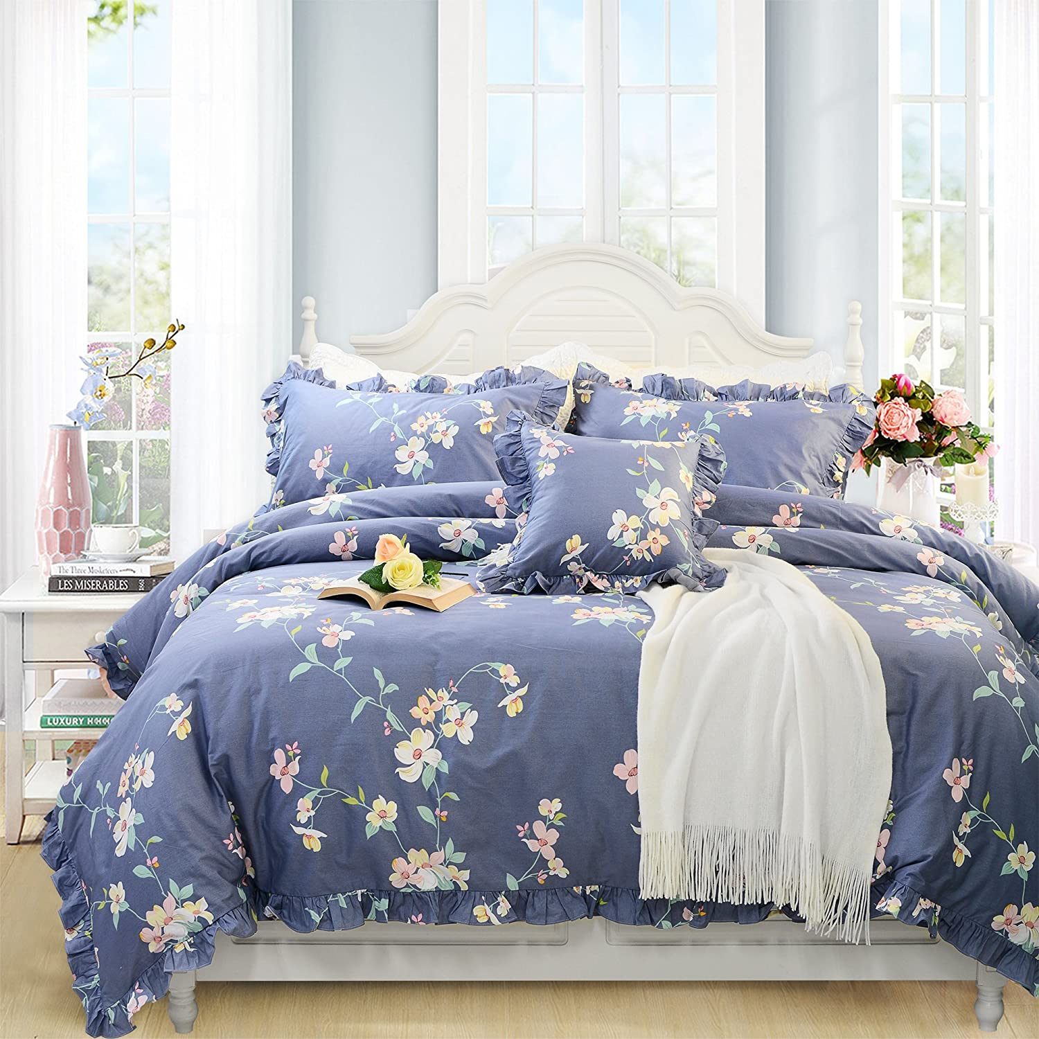FADFAY Green Floral Duvet Cover Sets Vintage Flower Printed Bedding Hypoallergenic 100/% Cotton Designer Bedding Set 3 Pieces 1duvet Cover /& 2pillowcases Full Size, Ruffle Style