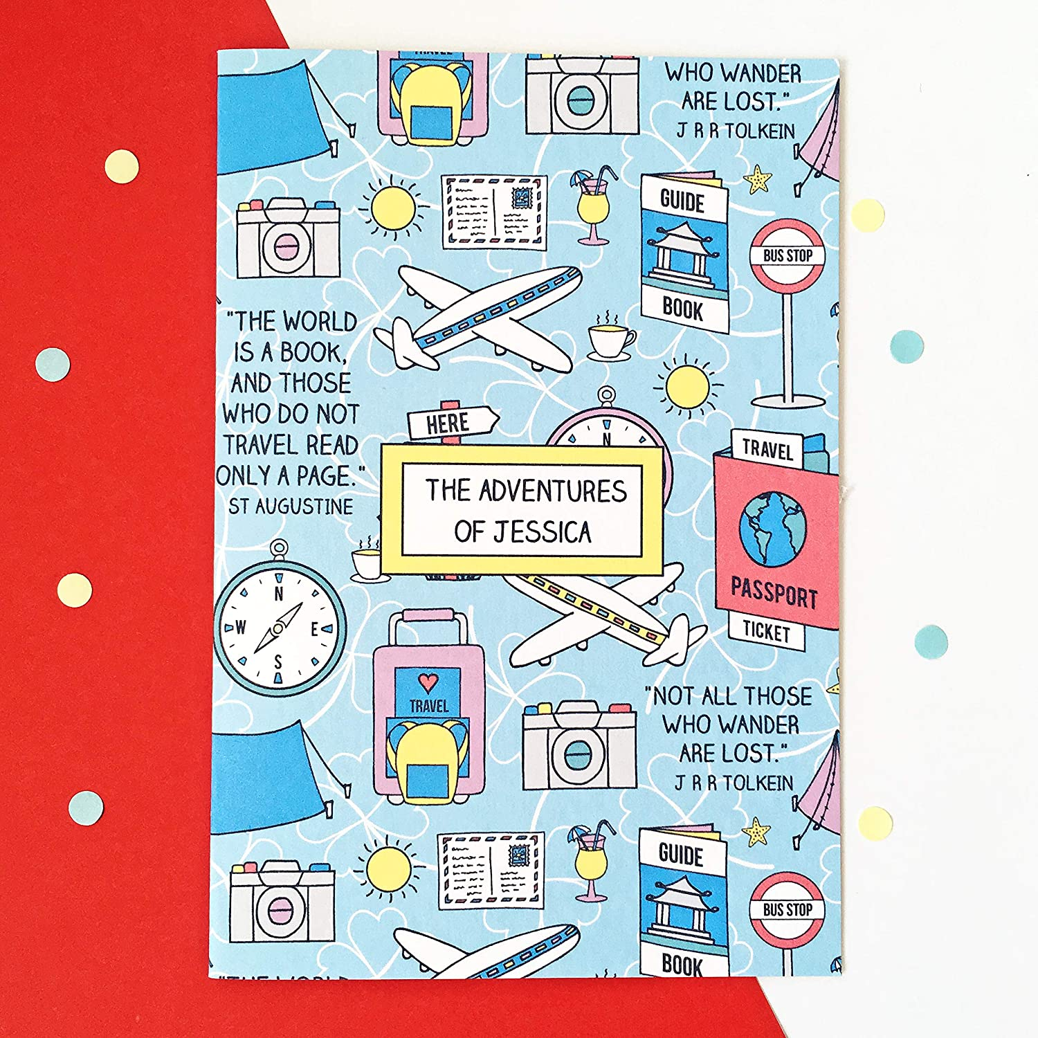 Travel themed notebook honeymoon or special holiday gift for travelling