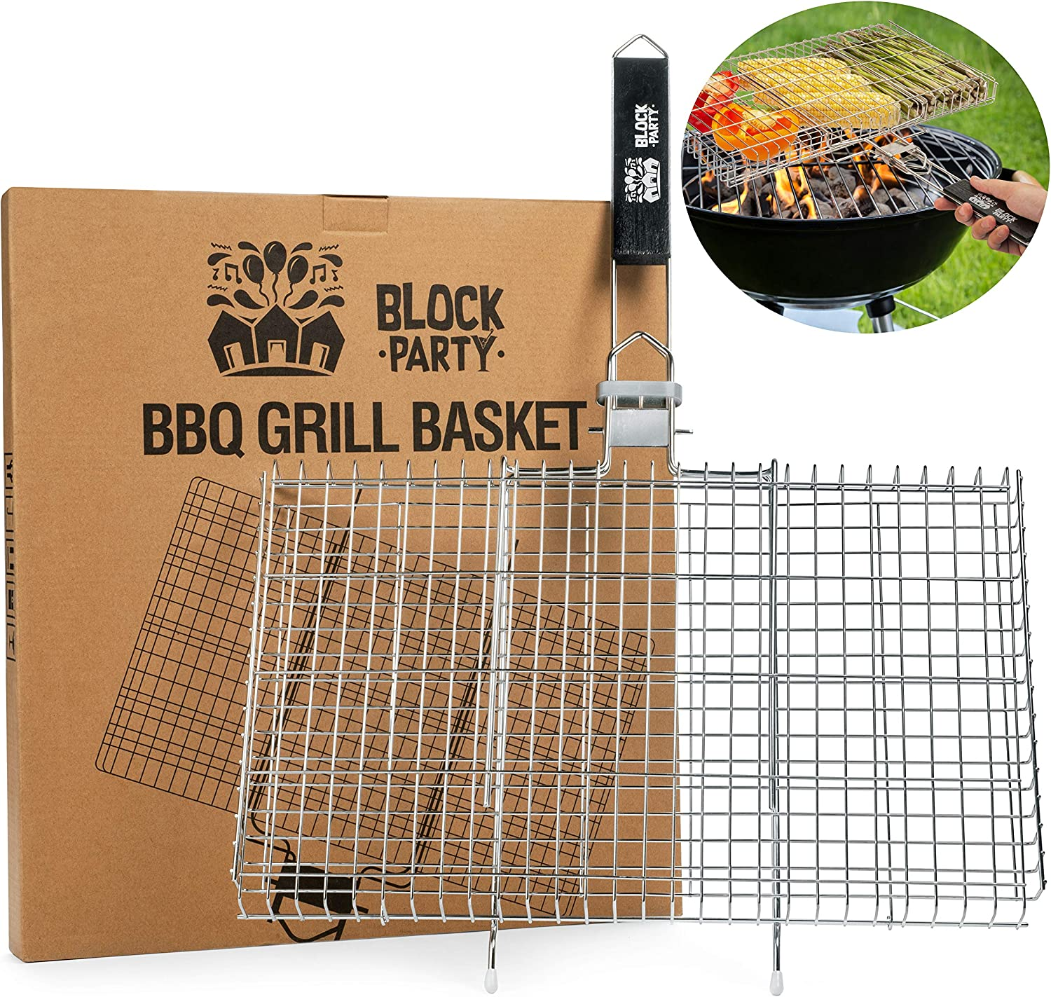 New Year Liquidation Sale on Grill Baskets For Chicken, Shrimp, Fish, Vegetables, etc. BBQ Accessories For Outdoor Cooking. Heavy Duty 304 Stainless Steel. Also Perfect for Campfire and Smoker