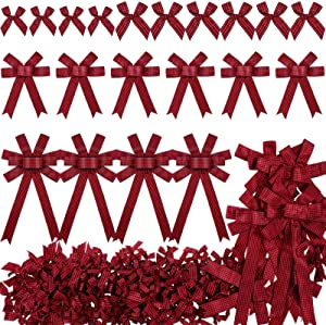 160 Pieces Christmas Bows Buffalo Plaid Wreath Bows Gingham Checkered Craft Ribbon Bows Holiday Decorative Bows for Christmas Party Wedding Decoration DIY Crafts, 3 Styles (Red and Black)