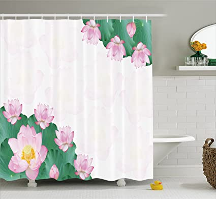 Lunarable Lotus Shower Curtain Frame Of Flowers Nature Mother Earth Botany Beauty Blooms Zen