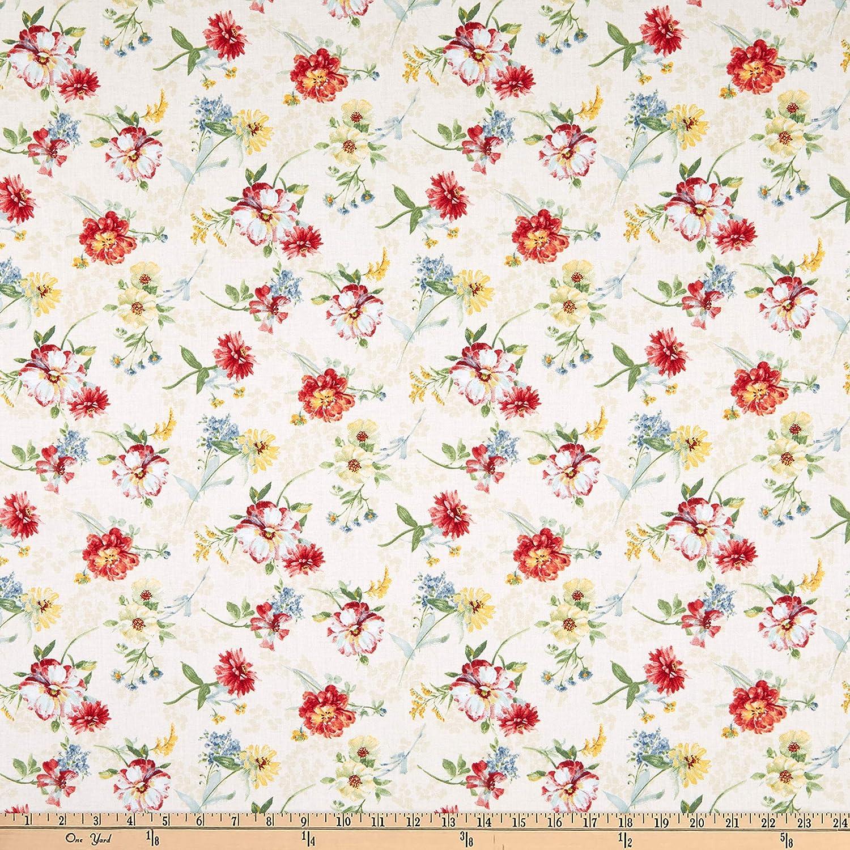 Wilmington Sketchbook Garden Tossed Florals Cream Fabric by The Yard