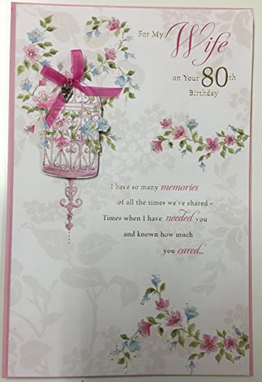Image Unavailable Not Available For Color 80th Birthday Wife Large Handmade Greetings Card