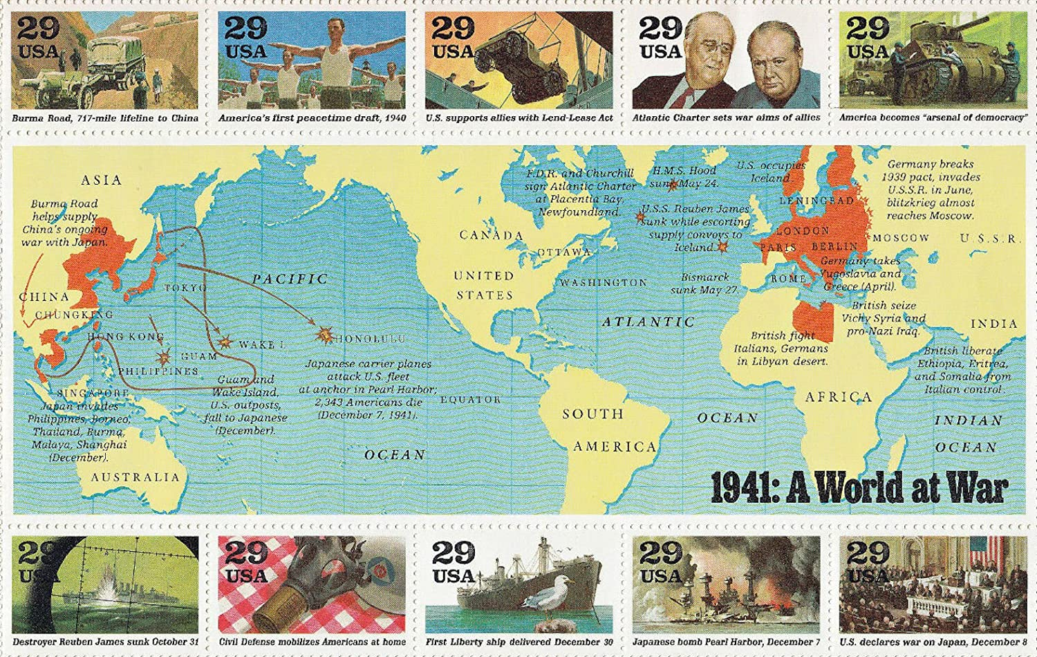 Amazon wwii 1941 a world at war world war ii full sheet of amazon wwii 1941 a world at war world war ii full sheet of 20 x 29 cent postage stamps usa 1991 scott 2559 toys games gumiabroncs Images