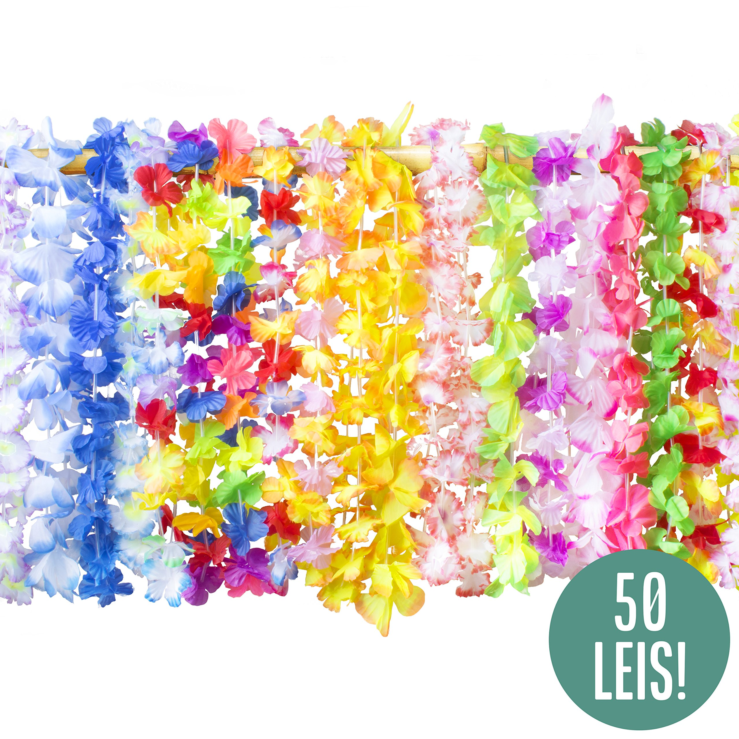 Hawaiian Leis Bulk Party Favors - 50 Hawaiian Flower Leis Bulk Pack for Luau Leis and Hawaiian Leis for Kids + Flower Leis Necklaces Party Favors