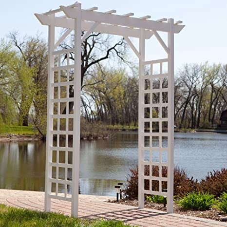 7-ft. Vinilo Pergola Arbor, color blanco, Ideal para de ...