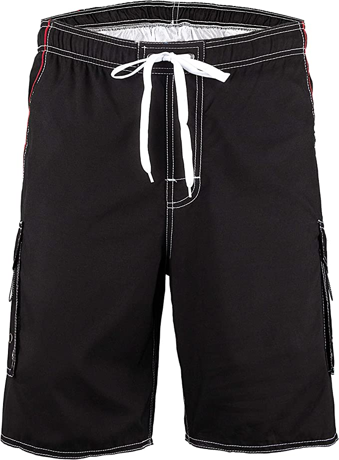 Mens Swimming Trunks Color Matching Loose Adjustable Beach Pants Summer Wading Sports Fitness Quick-Drying Shorts