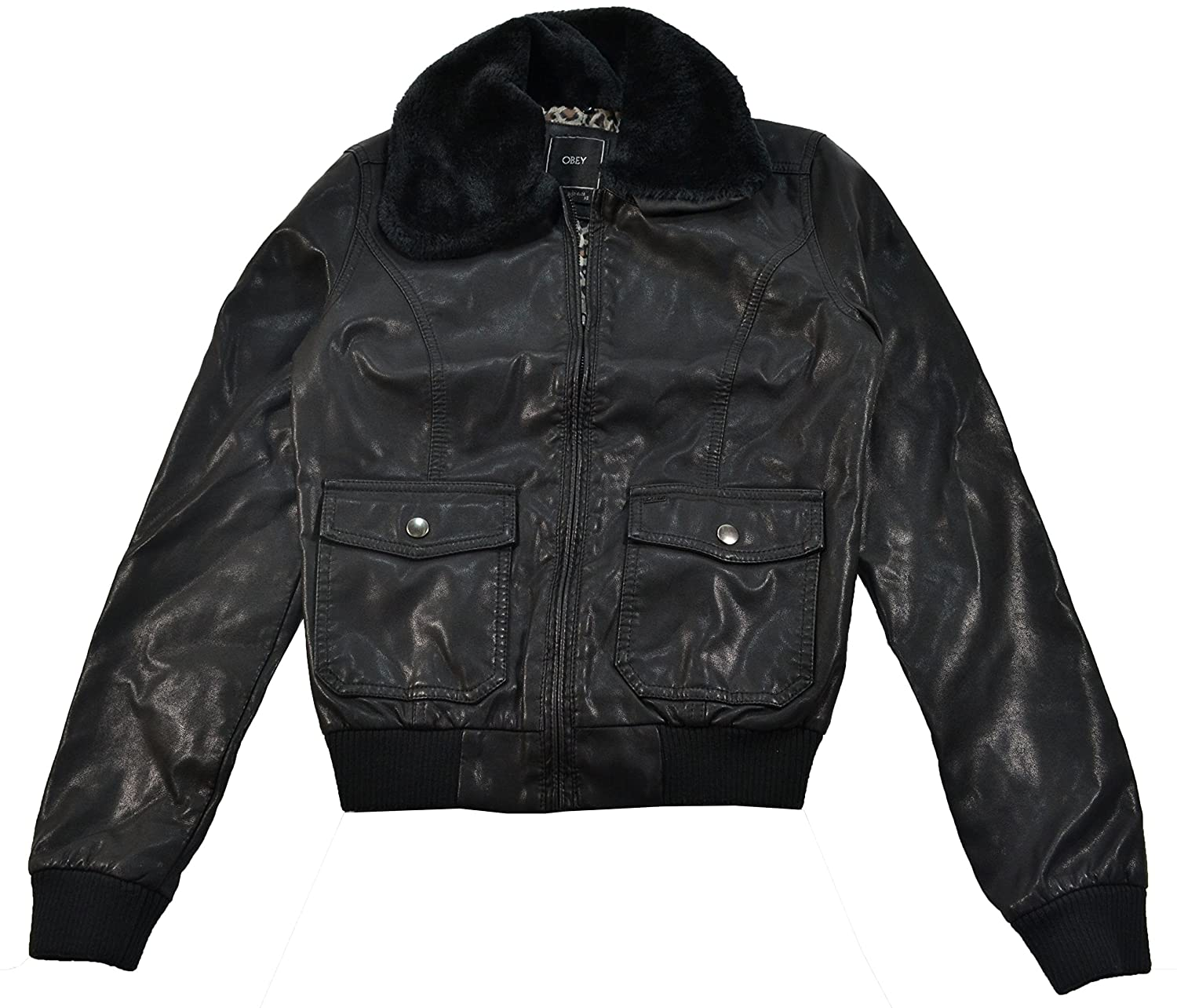 Obey Eastside Black Faux Leather Women's Jacket OLJK187