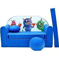 Pro Cosmo Canapé-lit pour Enfant C28 - avec Pouf, Repose-Pieds et Oreiller - Tissu - Bleu - 168x 98x 60cm
