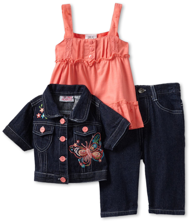 Young Hearts Little Girls' 3 Piece Dark Denim Butterfly Jacket Set, Medium Orange, 4T