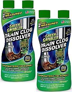 Green Gobbler Liquid Hair & Grease Clog Remover | Drain Opener | Drain cleaner | Toilet Clog Remover - 2 Pack