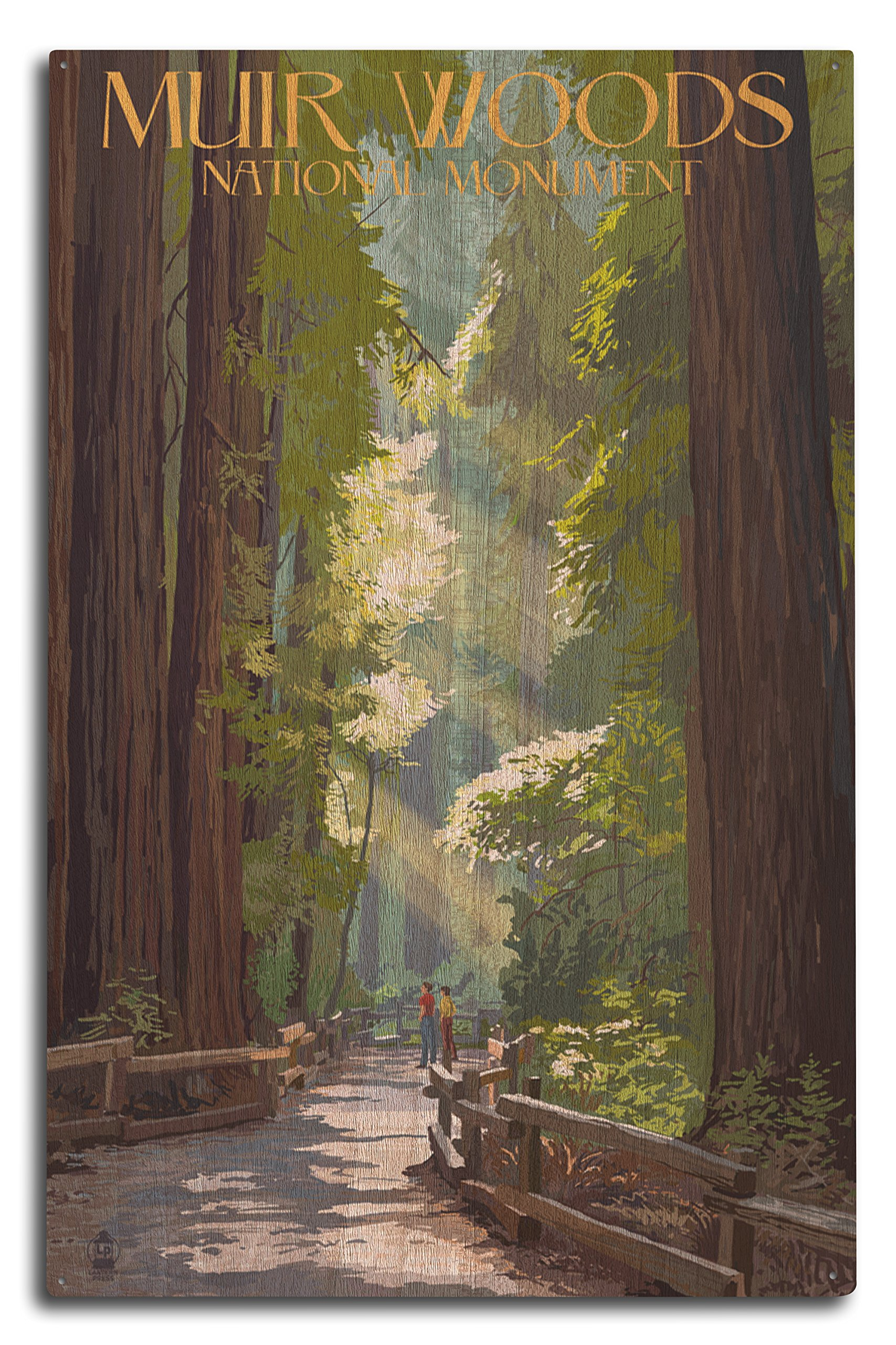 Lantern Press Muir Woods National Monument, California - Pathway (10x15 Wood Wall Sign, Wall Decor Ready to Hang)