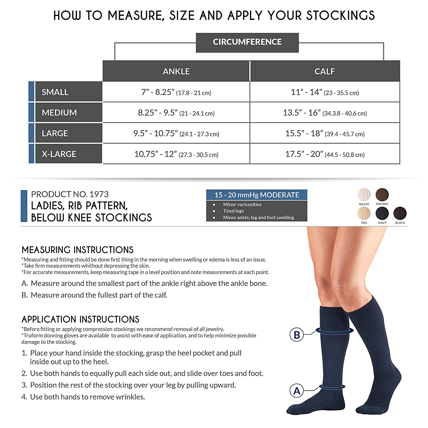 Amazon.com: Truform Compression for Women 15-20 mmHg Socks Brown Rib Pattern, Large, 2 Count: Health & Personal Care