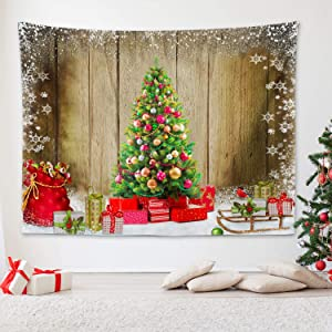 "RosieLily Christmas Tree Tapestry, 59""x 79"" X' mas Tree with Santa's Sleigh Gifts Snowflakes on Snowfield Wall Hanging for Bedroom Living Room Dorm Wall Decor"