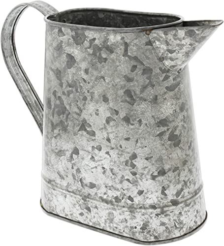 Rustic Galvanized Metal Pitcher Planter Vase