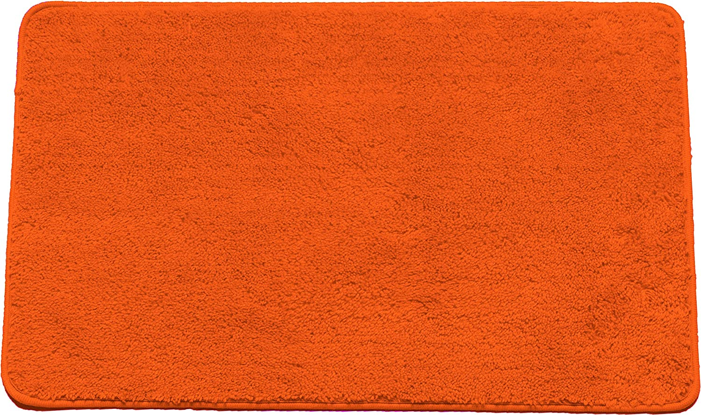 "Kashi Home Hailey Collection Rectangle Plush Bath Rug, 30"" X 18"" Decorative Bathroom Rug, Orange"