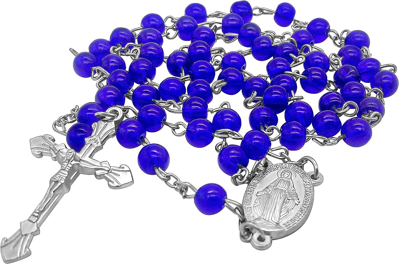 Vintage catholic rosary purple glass bead