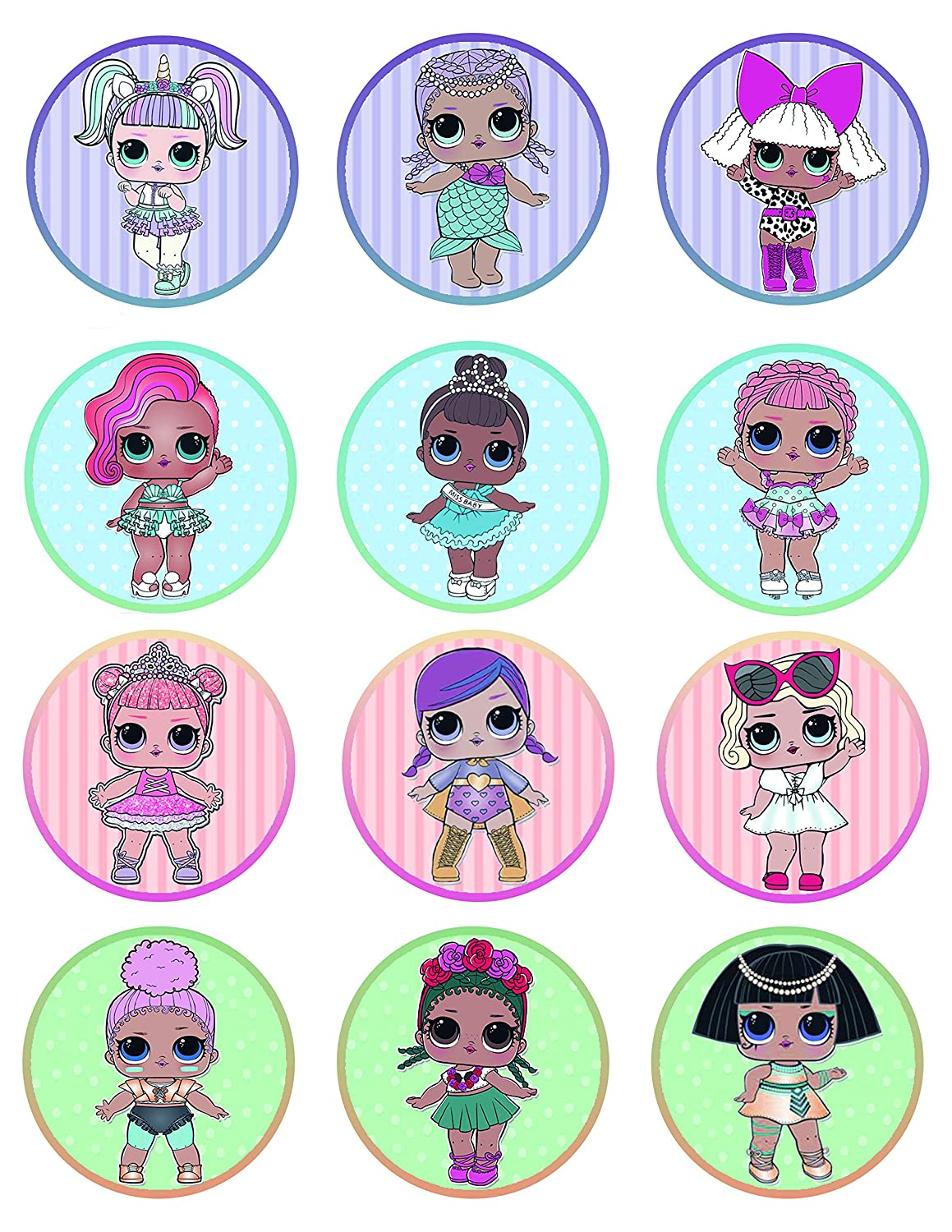 LOL Surprise Pets Cupcake Toppers Set of 12 LOL Surprise Dolls Cupcake Toppers