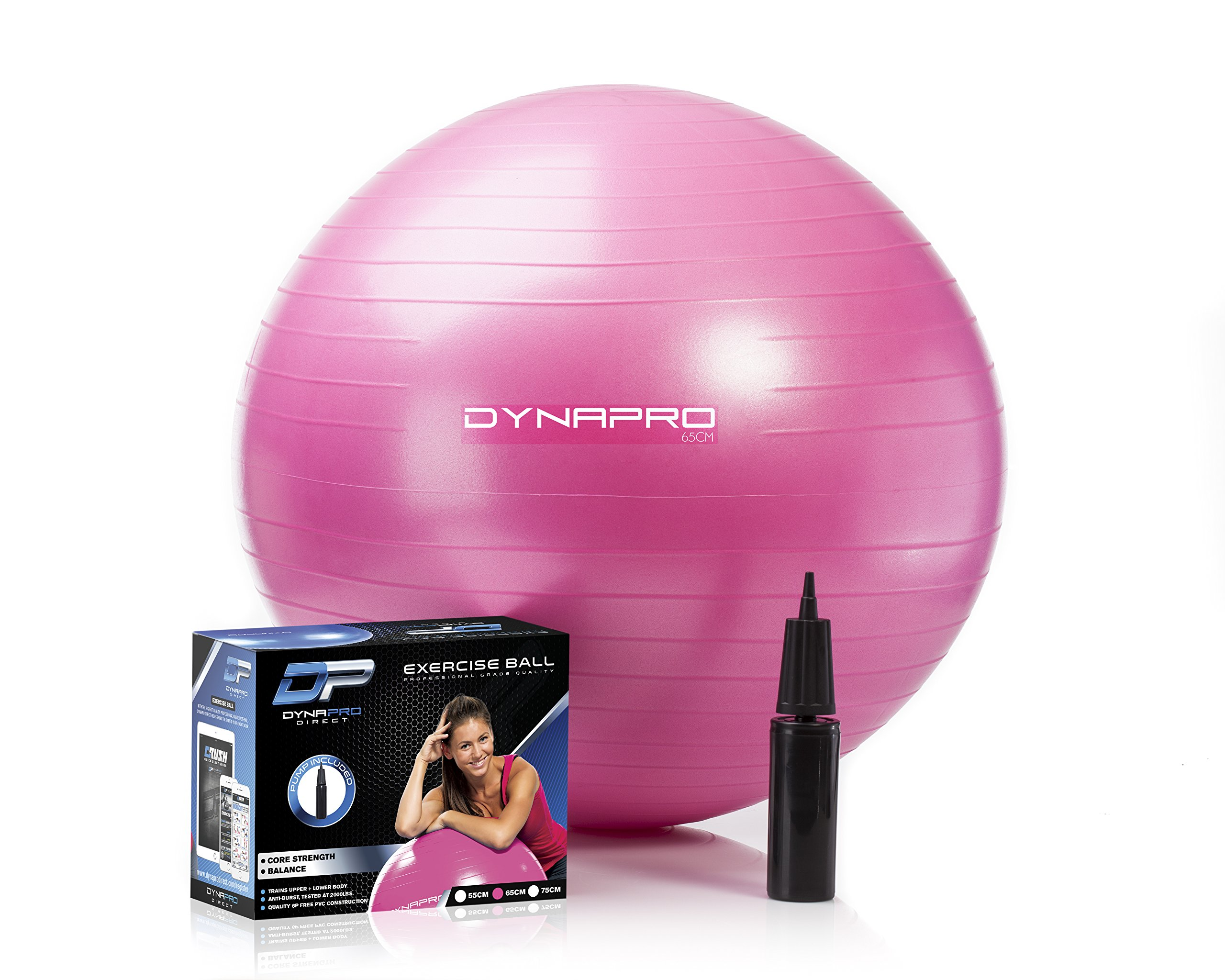 DYNAPRO Exercise Ball - 2,000 lbs Stability Ball - Professional Grade – Anti Burst Exercise Equipment for Home, Balance, Gym, Core Strength, Yoga, Fitness, Desk Chairs (Pink, 65 Centimeters) by DYNAPRO (Image #2)