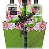 Lovestee Bath and Body Gift Set, Aromatherapy Bath Gift Basket for Men/Woman with Natural Orchard & Vine Scent Spa Gift Basket Includes Shower Gel, Bubble Bath, Body Lotion, Bath Salt, Towel