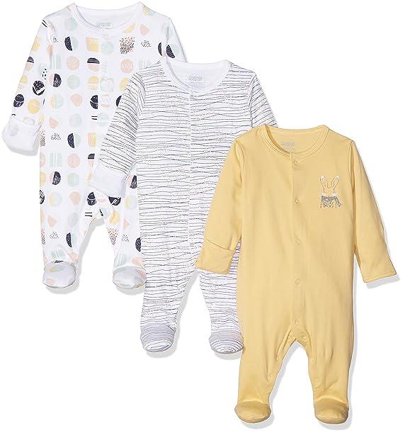 Mamas & Papas 3PK Geo Sleepsuits, Pijama para Bebés, Multicoloured (Yellow),