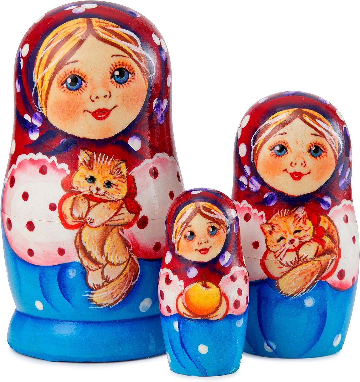 Halloween Home D/écor 4.5 inch MUARO Russian Nesting Doll Set Handmade Wooden Dolls 3-Piece Russian Stacking Matryoshka Dolls Babushka Toy Dolls for Kids Original Nested Dolls for Christmas