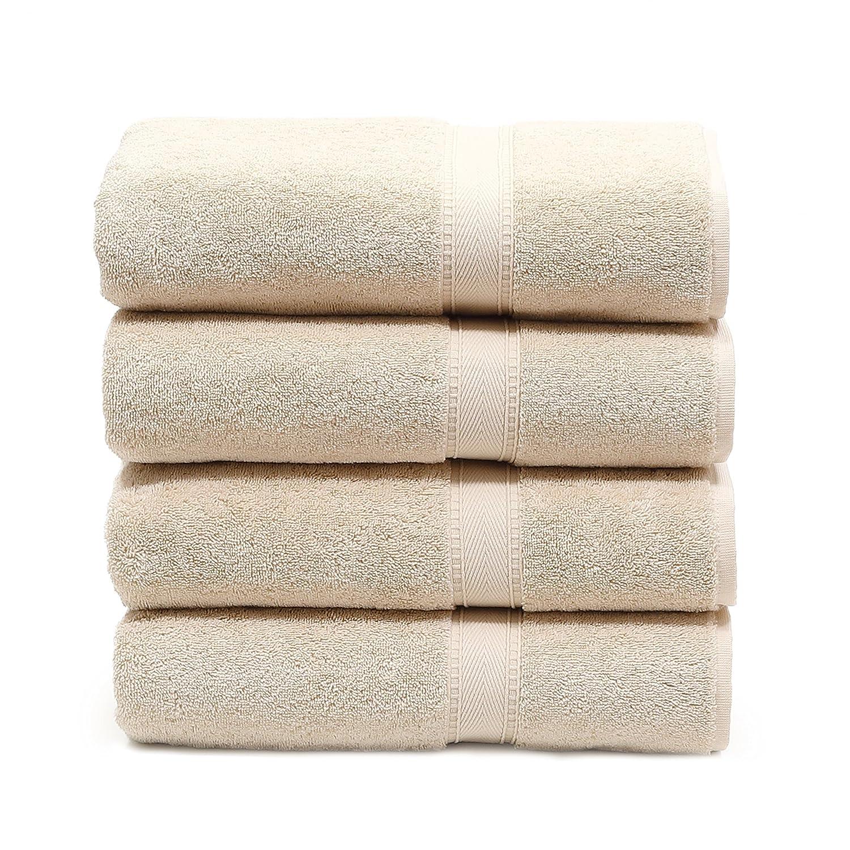 Linum Home Textiles 100% Turkish Cotton Sinemis Terry Bath Towel (Set of 4), Beige SN10-4BT