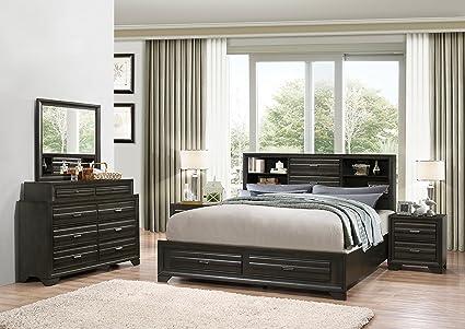 Roundhill Furniture B236kdmn2 Loiret Room Set King Storage Bed Dresser Mirror 2