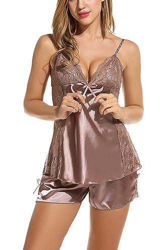 Avidlove Damen Satin Nachtwäsche Sexy Dessous Set Kurz Schlafanzüge Träger Nachthemd Babydoll Rückenfrei Pyjama Negligee mit Spitze