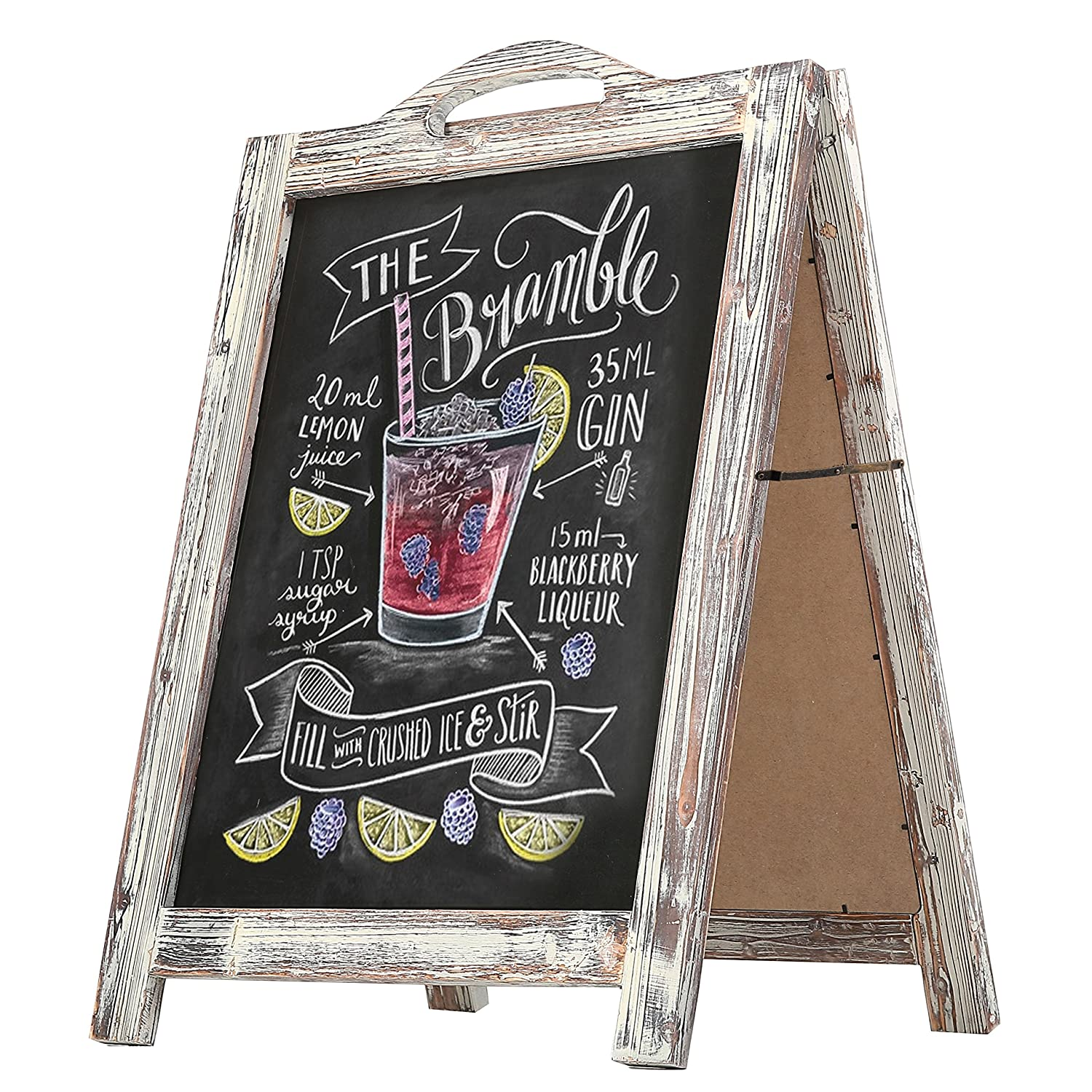 2-Sided Torched Wood A-Frame Chalkboard Sign, Sidewalk Cafe Menu Sandwich Board