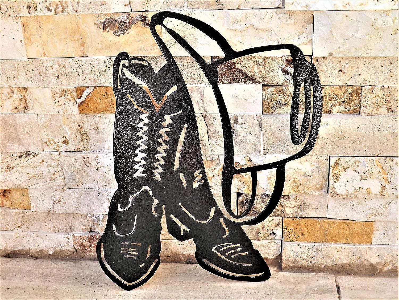 Welcome Cowboy Boot Plasma Cut Metal Wall Art Gift Idea