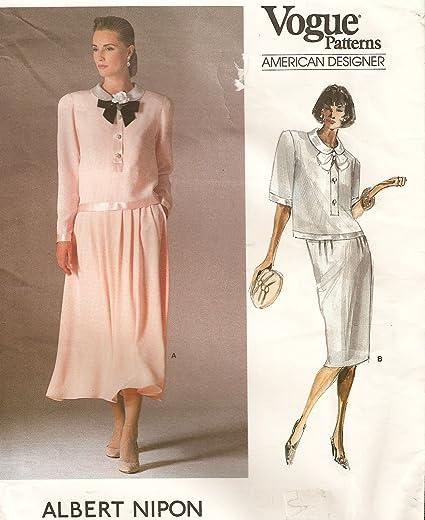Amazon Vogue Vintage Sewing Pattern 1842 Albert Nipon 2 Piece