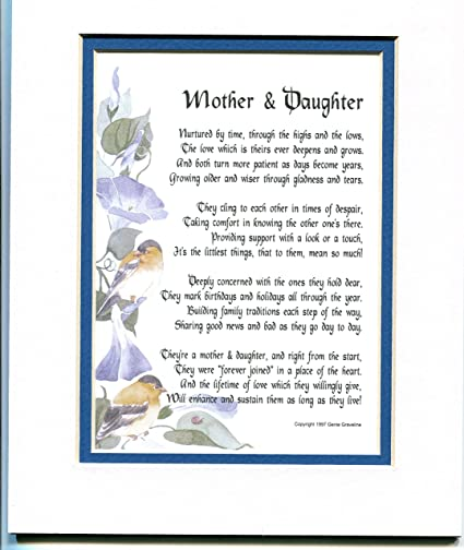 Amazoncom A Mother And Daughter A Or Birthday Present Poem For A