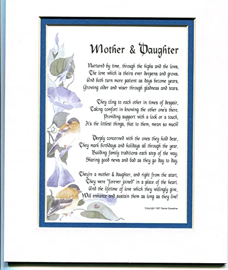 Amazon com: A Mother And Daughter A Or Birthday Present Poem