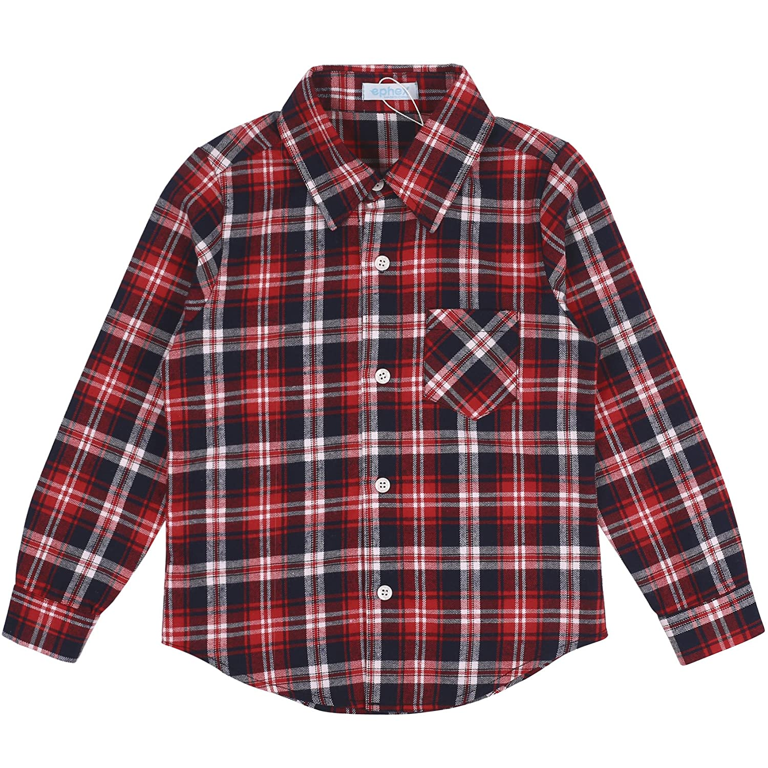 ephex Little Kids Cotton Long Sleeve Button Down Plaid Shirt 1-5T