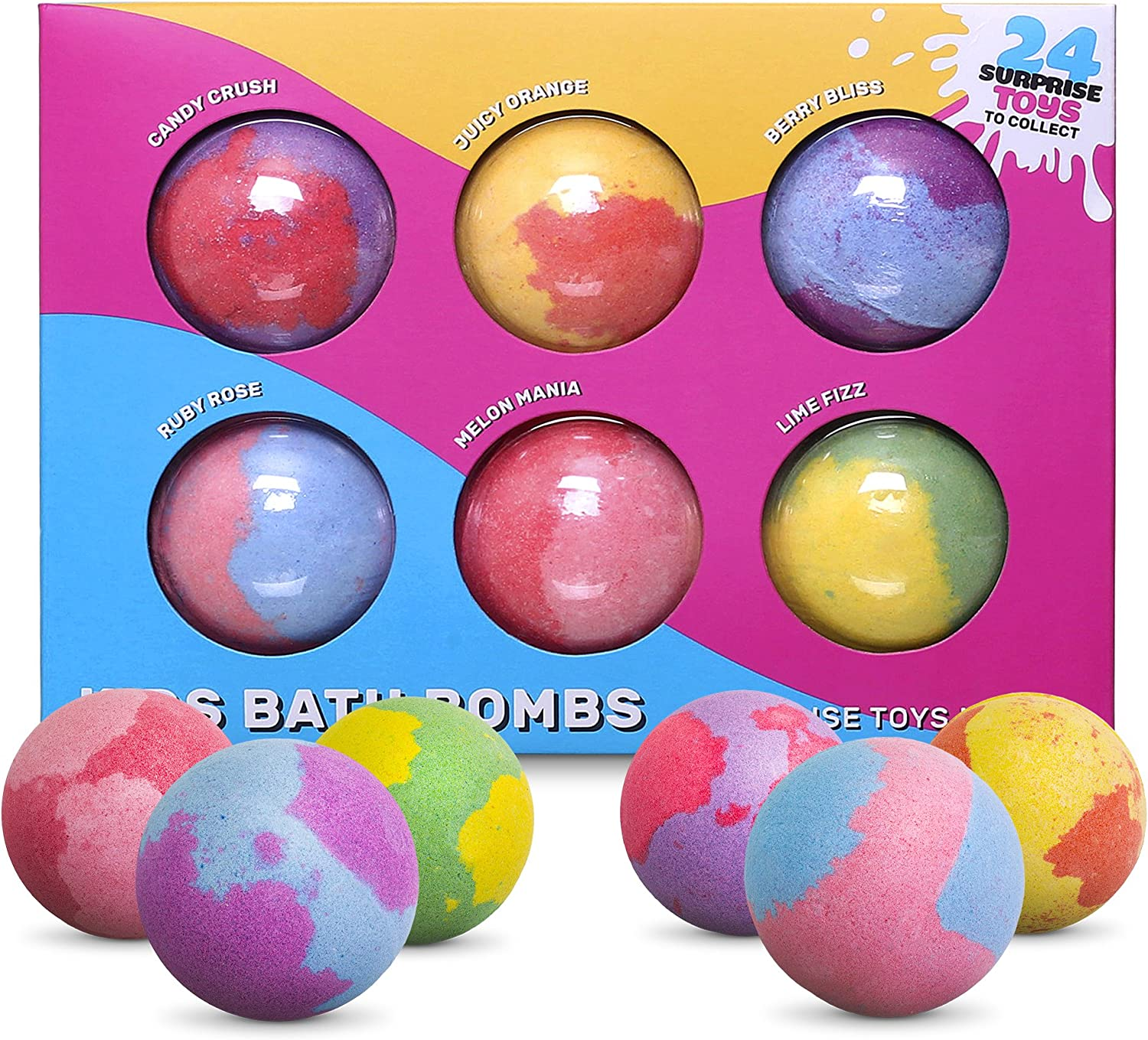 Bath Bombs with Toys Inside for Kids Toddlers Ages Over 3 Years Old 6 Pack Fizzies Safe Gentle Spa Balls Surprise Toys Birthday Gift Set for Boys /& Girls