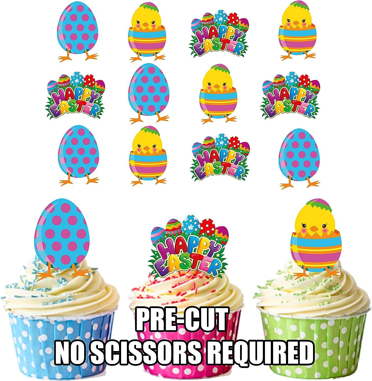 Ostern vorgeschnitten 12 St/ück K/üken und Ei AK Giftshop Essbare Cupcake-Topper//Kuchen-Dekoration